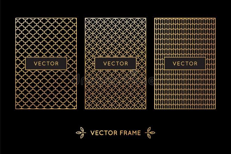Grupo do vetor de elementos, de etiquetas e de quadros do projeto ilustração royalty free