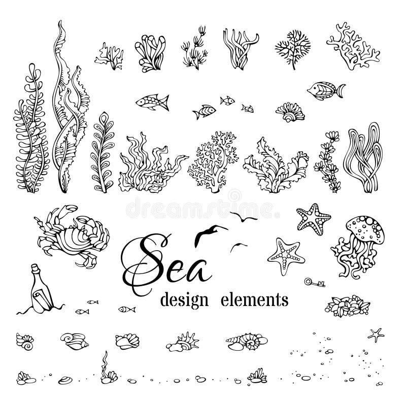Grupo do vetor de elementos debaixo d'água marinhos do projeto imagem de stock royalty free