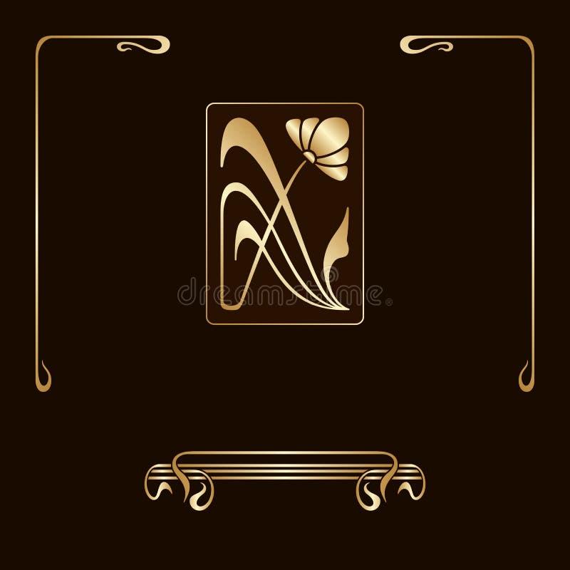 Grupo do vetor de elementos decorativos do art nouveau ilustração royalty free