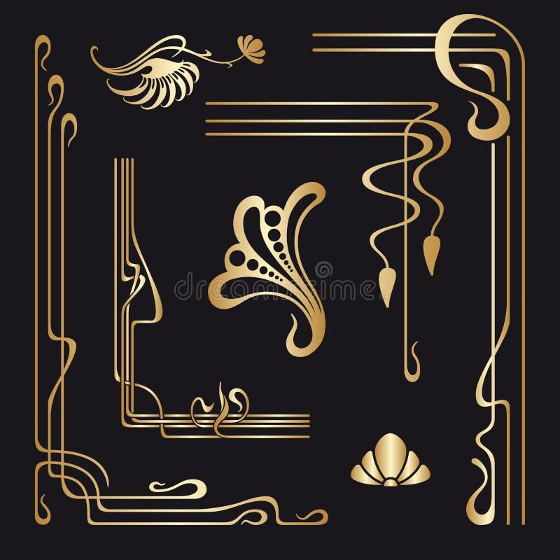 Grupo do vetor de elementos decorativos do art nouveau ilustração stock