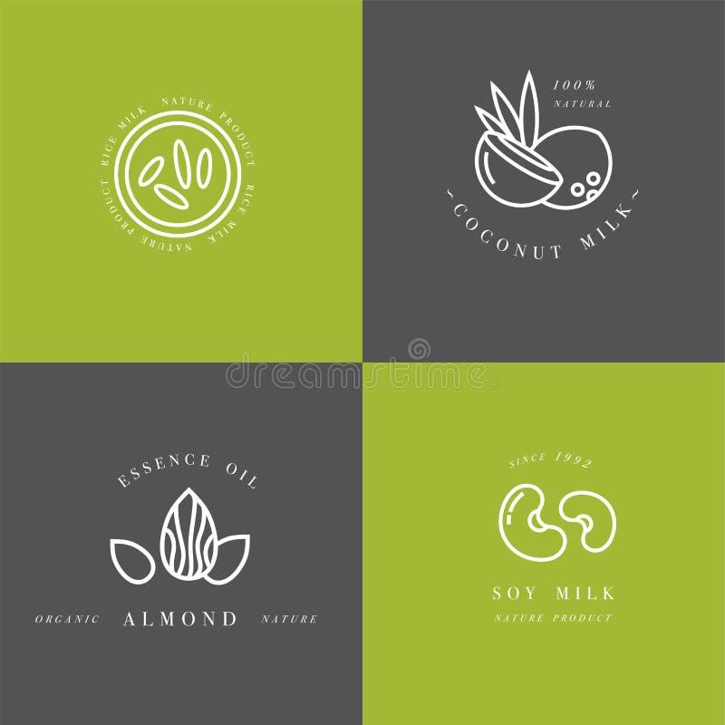 Grupo do vetor de elementos do projeto de empacotamento e de ícones no estilo linear - leite da amêndoa, do coco, do arroz e de s ilustração royalty free