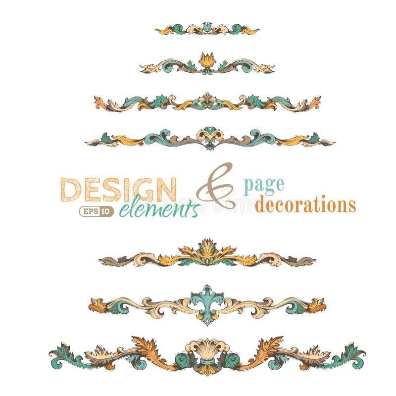 Grupo do vetor de elementos do projeto do vintage e de decorações da página ilustração do vetor
