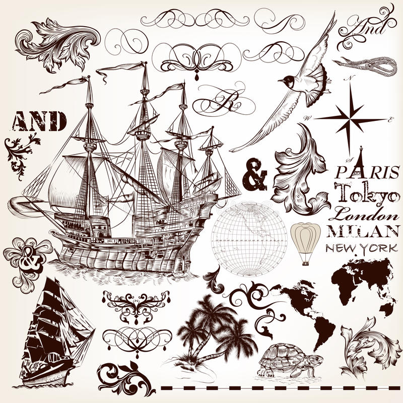 Grupo do vetor de elementos do vintage no tema marinho com navio e swi ilustração royalty free