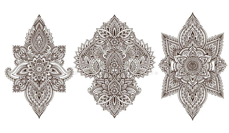 Grupo do vetor de elementos florais da hena ilustração royalty free