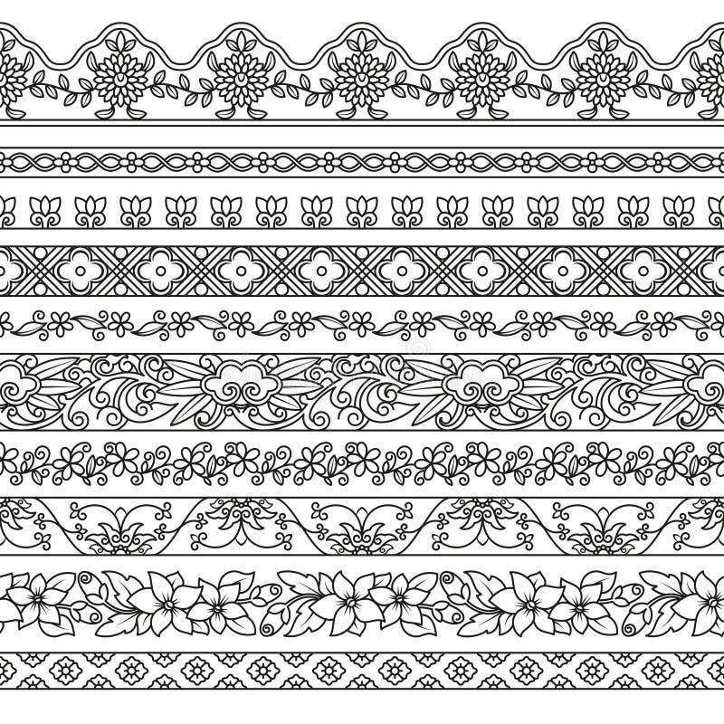 Grupo do vetor de elementos florais para a decoração étnica Testes padrões sem emenda para quadros ilustração do vetor
