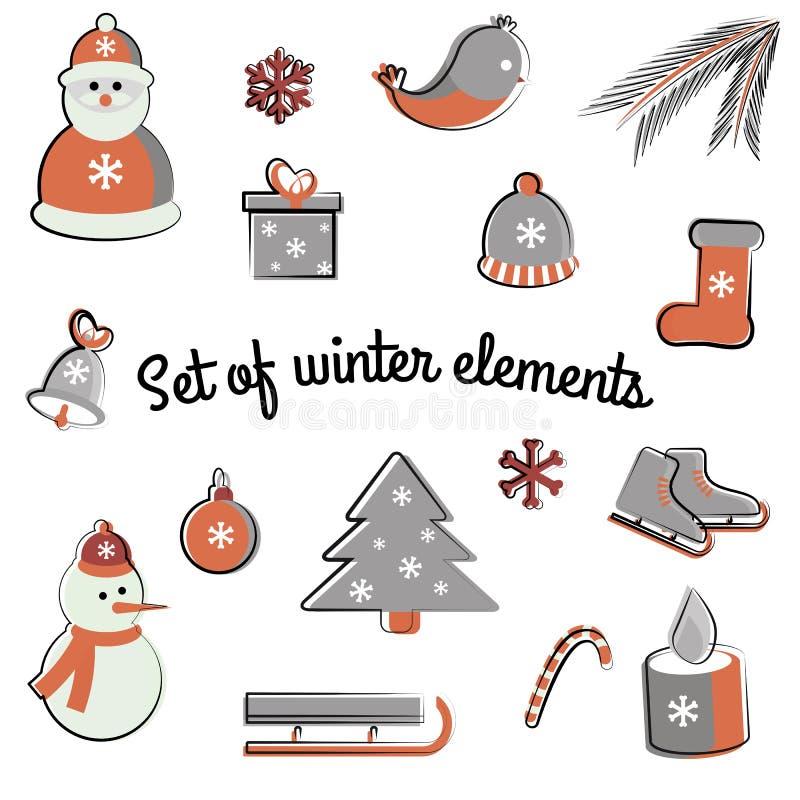 Grupo do vetor de elementos lisos do inverno Feriados ano novo e Natal imagens de stock royalty free