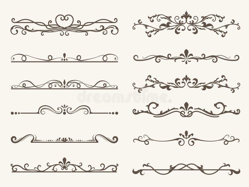 Grupo do vetor de elementos, de quadro e de linha decorativos estilo do vintage ilustração do vetor