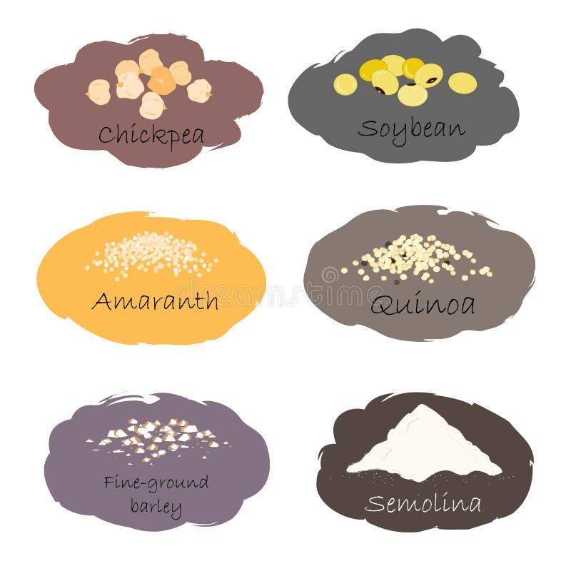 Grupo do vetor de emblemas do cereal e da grão Para a aveia em flocos de embalagem, cópias do frasco da cozinha, anunciando o ali ilustração do vetor