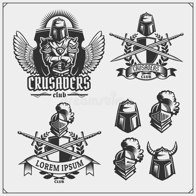 Grupo do vetor de emblemas medievais do cavaleiro do guerreiro, de logotipos, de etiquetas, de emblemas dos crachás, de sinais e  ilustração stock
