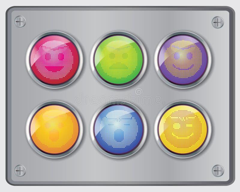 Grupo do vetor de emoticons lustrosos da cara do interruptor. ilustração do vetor