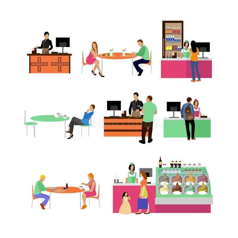 Grupo do vetor de empregados e de visitantes do restaurante ilustração stock