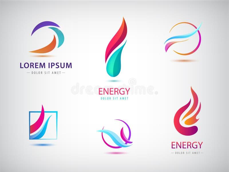 Grupo do vetor de energia ondulada abstrata, poder, tecnologia, logotipos do fogo Energia e renovável solares ilustração royalty free