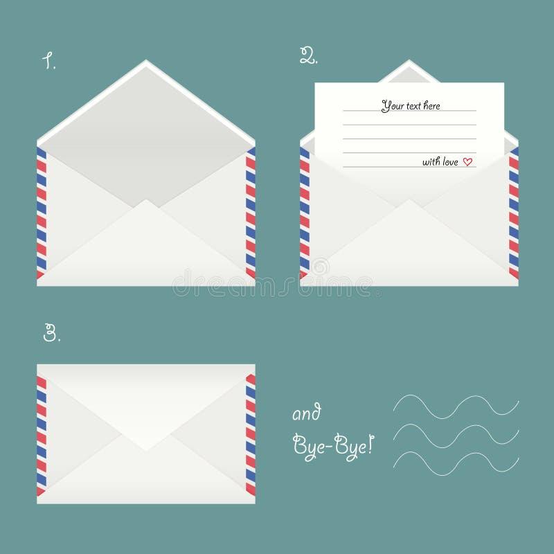 Grupo do vetor de envelopes ilustração stock