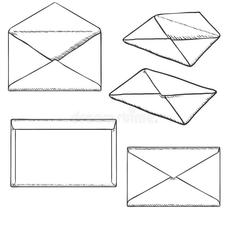 Grupo do vetor de envelopes postais do esboço ilustração royalty free