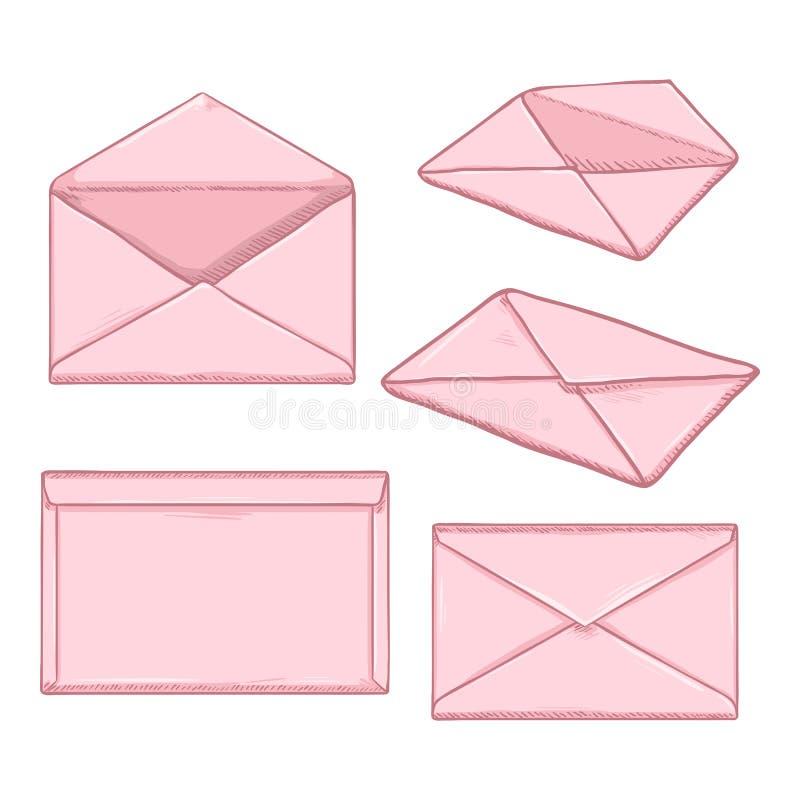Grupo do vetor de envelopes do rosa dos desenhos animados ilustração royalty free