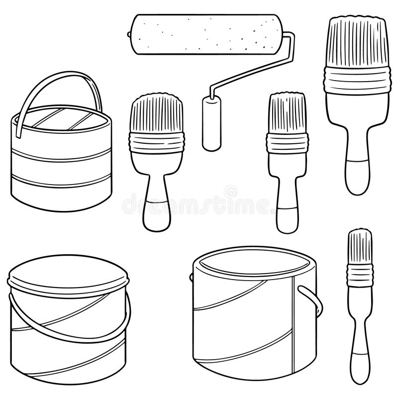 Grupo do vetor de escova da cubeta da pintura e de pintura ilustração royalty free