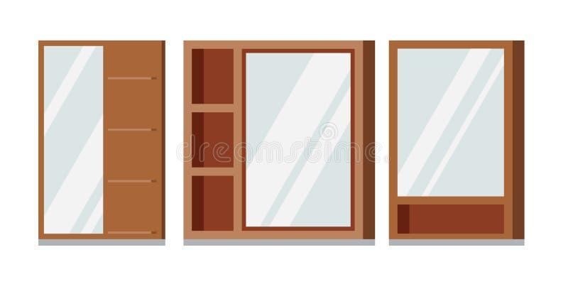 Grupo do vetor de espelhos retangulares dos quadros de madeira com banheiro das prateleiras ilustração royalty free