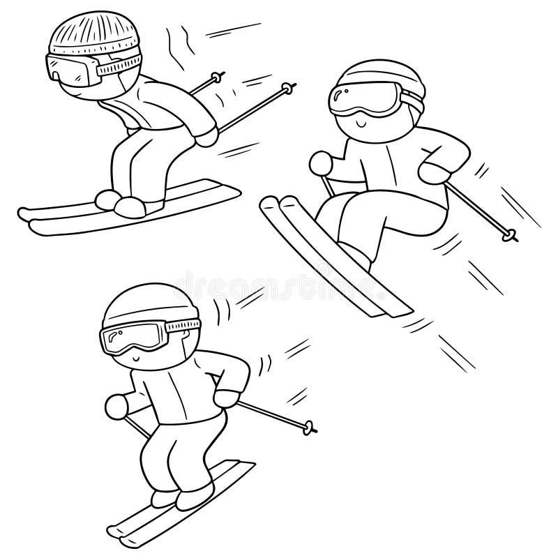 Grupo do vetor de esqui ilustração stock
