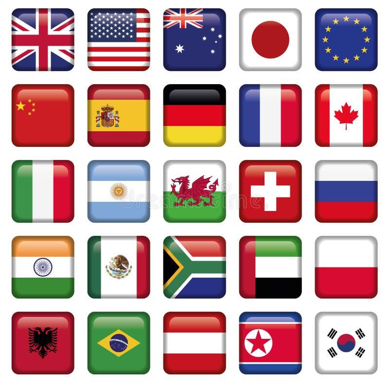 Grupo do vetor de estados da parte superior do mundo das bandeiras ilustração royalty free