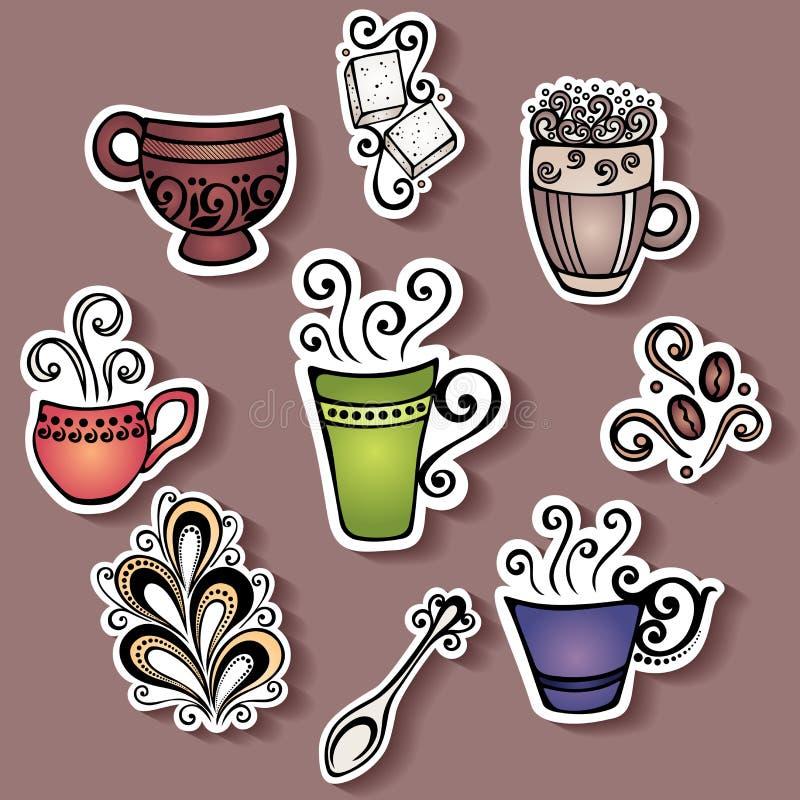 Grupo do vetor de etiquetas com os copos de café decorativos ilustração royalty free