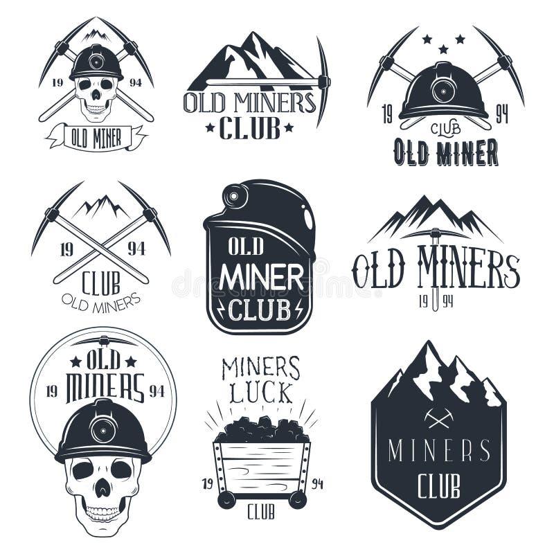 Grupo do vetor de etiquetas da mineração no estilo do vintage Clube dos mineiros de ouro ilustração stock