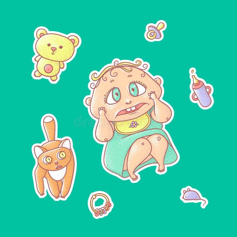 Grupo do vetor de etiquetas das ilustrações de cor da criança assustado e do gatinho Artigos da higiene, cuidado do bebê e brinqu ilustração royalty free