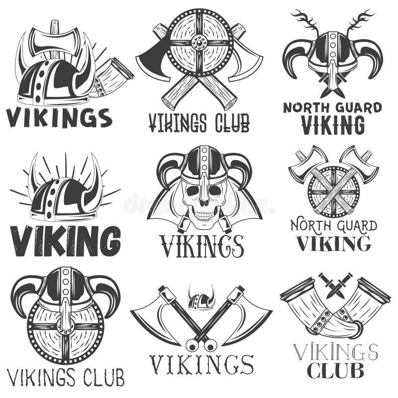 Grupo do vetor de etiquetas de viquingues no estilo do vintage Projete elementos, ícones, logotipo, emblemas, crachás Capacete do ilustração royalty free