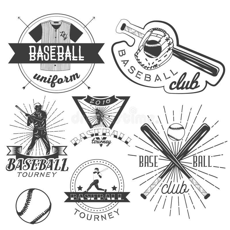 Grupo do vetor de etiquetas do basebol no estilo do vintage Conceito do esporte Bastão e bola ilustração stock