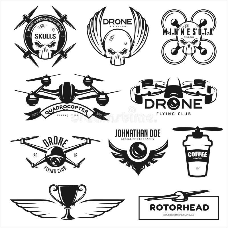Grupo do vetor de etiquetas do clube do voo do zangão, crachás ilustração stock