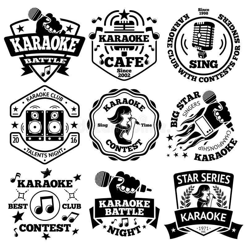Grupo do vetor de etiquetas do karaoke, crachás ilustração royalty free