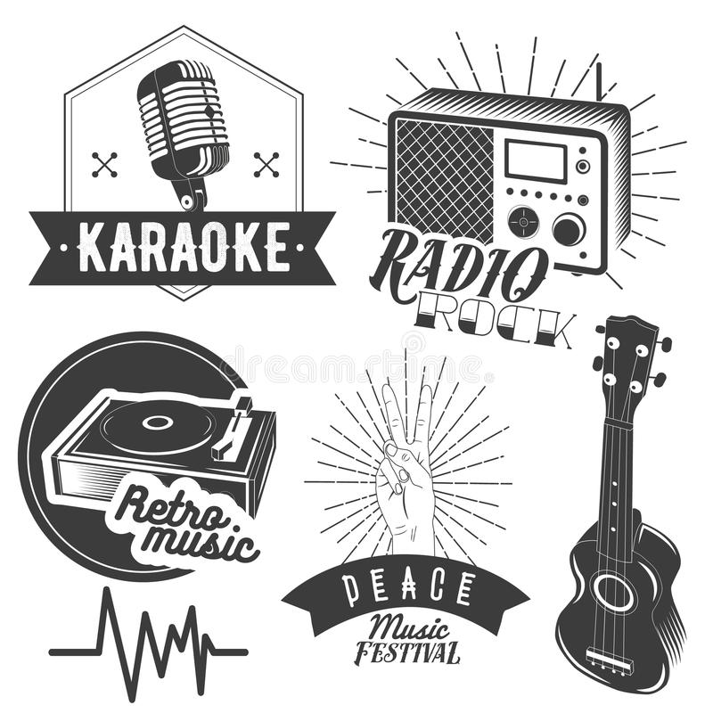 Grupo do vetor de etiquetas do karaoke e da música no estilo do vintage Guitarra, microfone, gramofone, receptor de rádio isolado ilustração stock