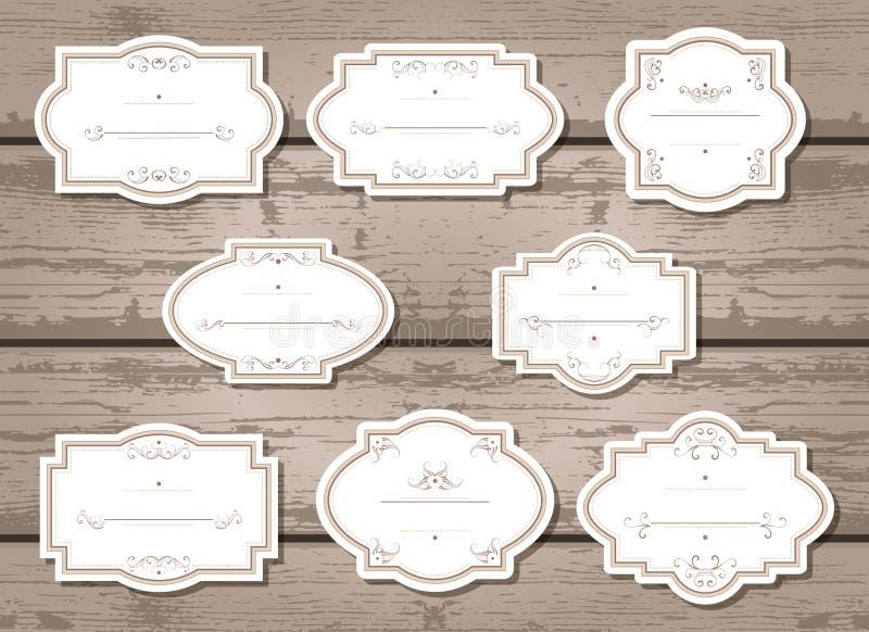 Grupo do vetor de etiquetas e de etiquetas com quadros fotografia de stock royalty free