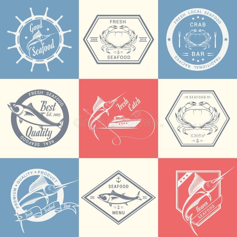 Grupo do vetor de etiquetas e de sinais do marisco ilustração stock