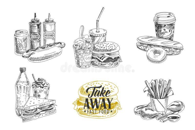 Grupo do vetor de fast food Ilustração no esboço ilustração stock