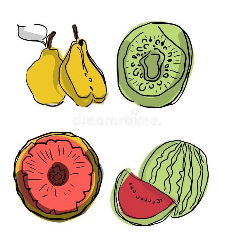 Grupo do vetor de fatias do fruto: melancia, fruto, quivi, abacaxi, toranja, maçã Coleção do alimento do verão Os frutos frescos  ilustração do vetor