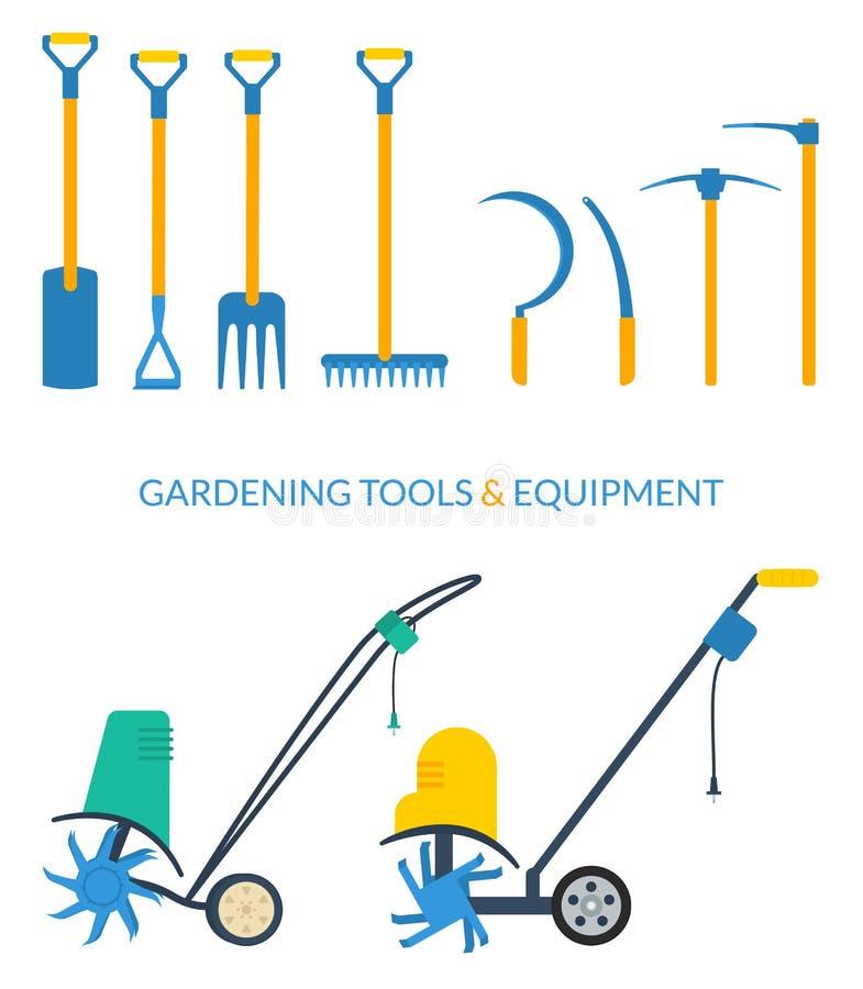 Grupo do vetor de ferramentas de jardim ilustração royalty free