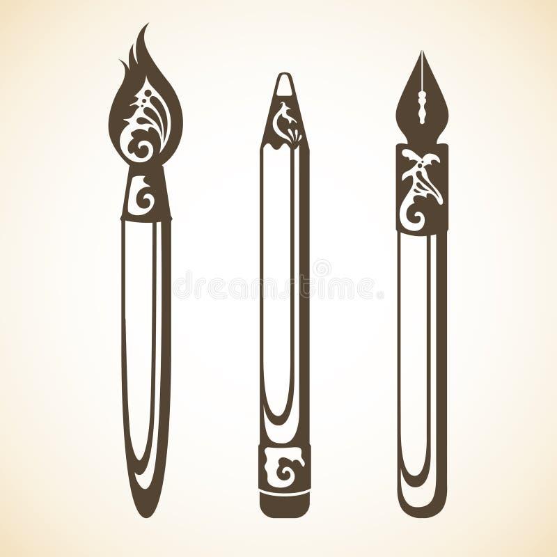 Grupo do vetor de ferramentas decorativas decorativas da arte do vintage ilustração do vetor