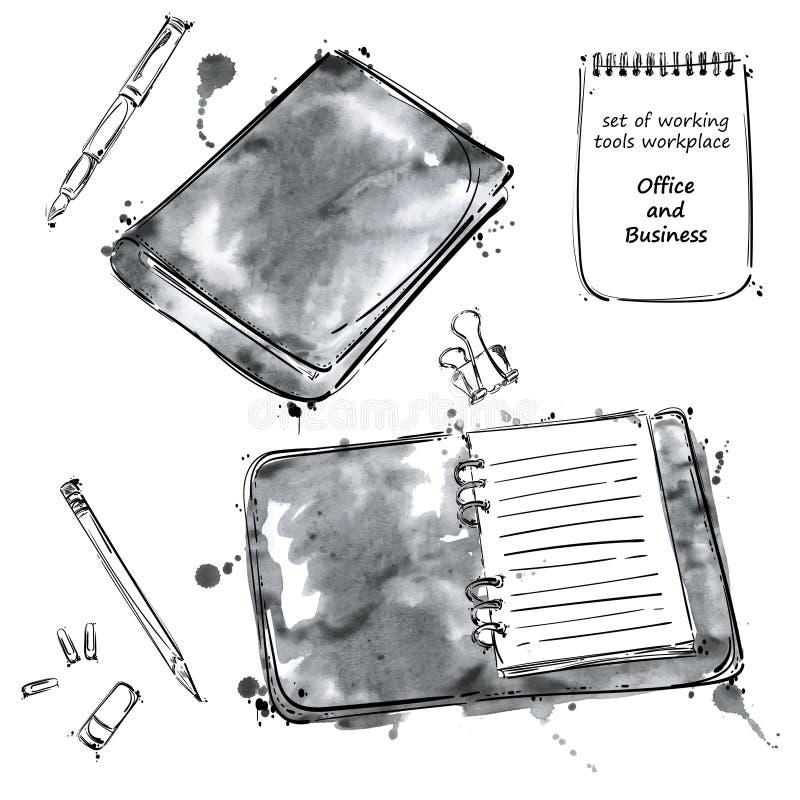 Grupo do vetor de ferramentas Isolado no fundo branco ilustração royalty free