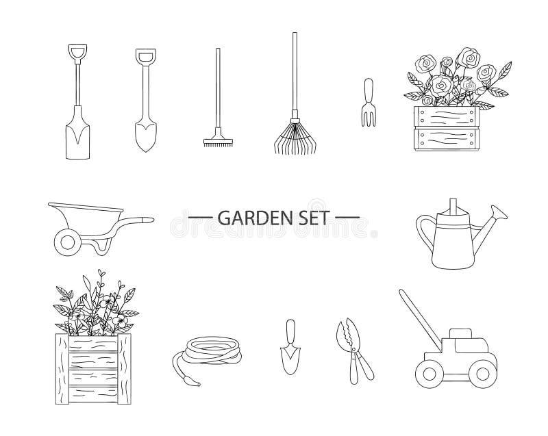 Grupo do vetor de ferramentas de jardim preto e branco ilustração do vetor