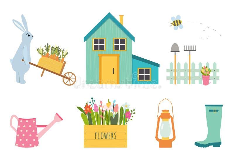 Grupo do vetor de ferramentas de jardinagem bonitos ilustração royalty free