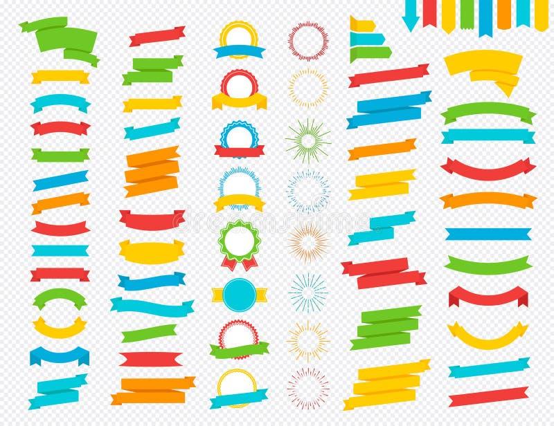 Grupo do vetor de fita, de concessão e de grupo liso colorido do estilo do sunburst ilustração stock