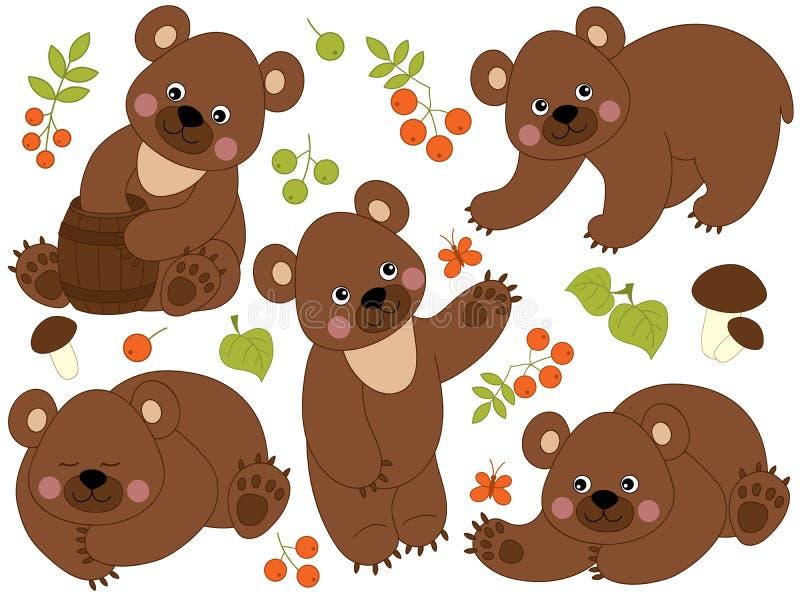 Grupo do vetor de Forest Brown Bears bonito ilustração stock