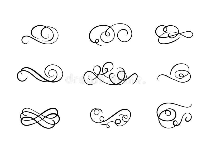Grupo do vetor de formas caligráficas do redemoinho, linhas abstratas da onda, desenhos de tinta preta ilustração royalty free