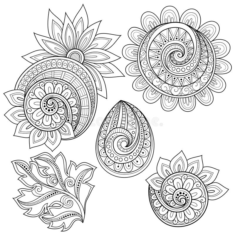 Grupo do vetor de garatujas florais do contorno monocromático ilustração stock