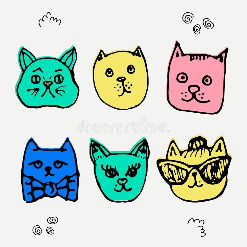 Grupo do vetor de gatos adoráveis Estilo tirado mão ilustração do vetor
