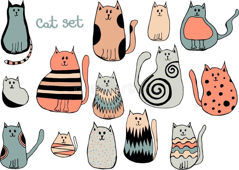 Grupo do vetor de gatos bonitos dos desenhos animados Coleção de gatinhos da garatuja ilustração do vetor