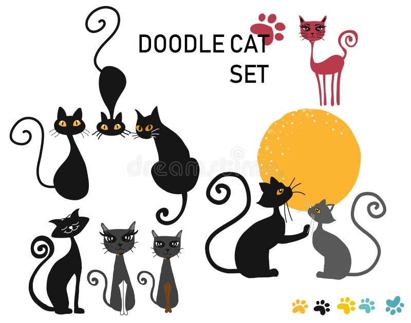 Grupo do vetor de gatos do desenho da mão da garatuja ilustração royalty free