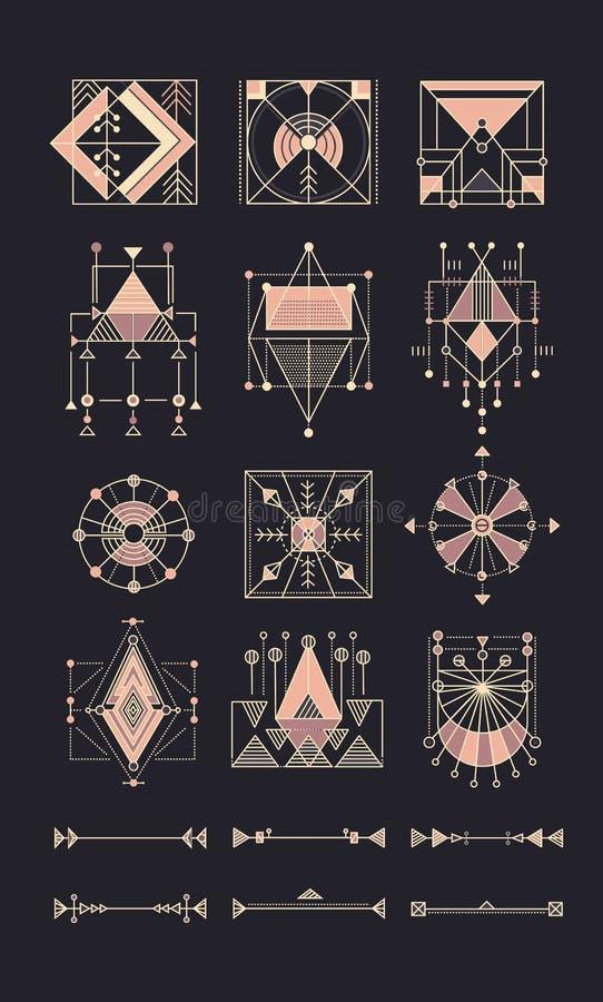 Grupo do vetor de geometria sagrado ilustração royalty free