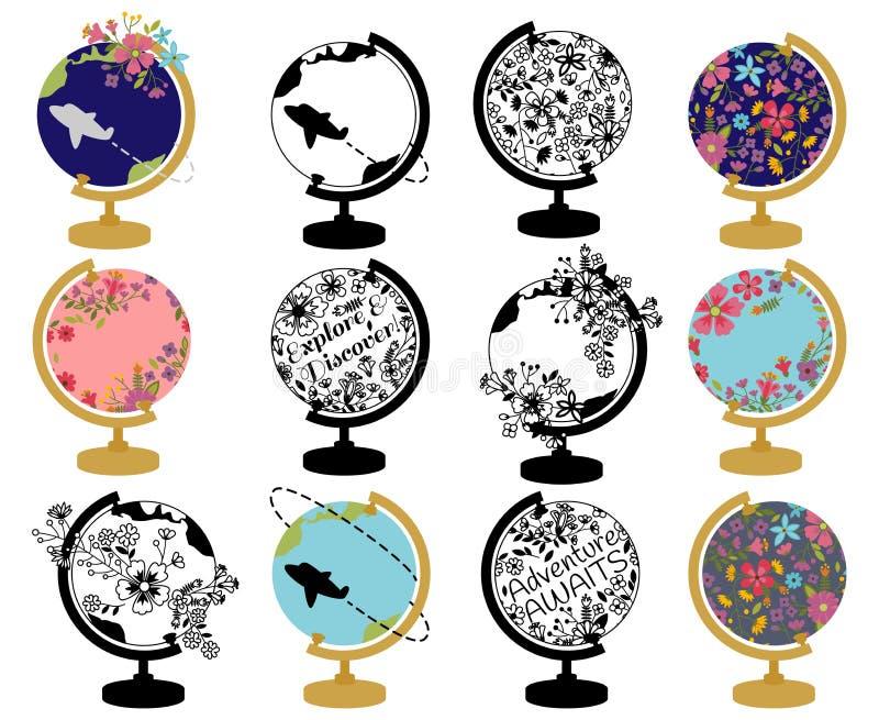 Grupo do vetor de globo do vintage com temas retros e florais ilustração royalty free