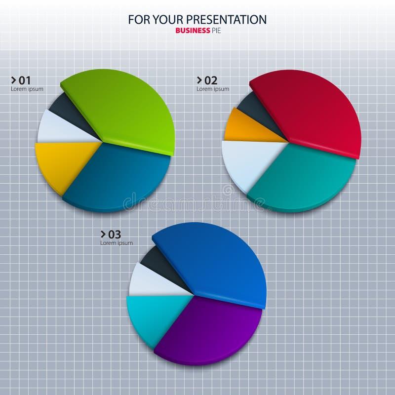 Grupo do vetor de gráfico de setores circulares coloridos - para o seu ilustração do vetor